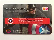 Dunkin Donuts Gift Card 2011 Captain America Movie Marvel DD No Value Unused