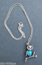 Vtg 1990's Silver Tone Small Metal Owl Pendant Costume Jewelry Necklace