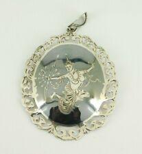 Vintage Siam Sterling Silver Enamel Pendant / Brooch