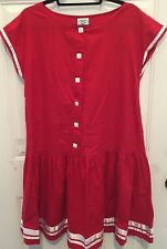 Vtg LAURA ASHLEY Drop Waist Red Dress Size 10 US White Trim 100% Cotton RARE