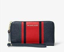 Michael Kors Center Stripe Lg Flat Multifunction Phone Wristlet Wallet Admiral