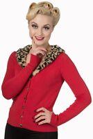Red Vintage Retro Rockabilly V Neck Leopard Faux Fur Cardigan By Banned Apparel