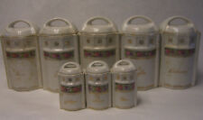 Antique German Spice/ Kitchen Canister Set of 8,  Painted w/ Flowers