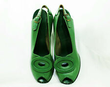 Size 6 1940s Green Shoes - Art Deco Style Open Toe Leather Pumps - 30s 40s