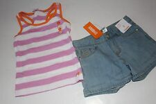 Gymboree Bright and Beachy Girls Size 5 Stripe Top Shirt Denim Shorts NEW NWT