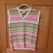 Vintage 70s Nylon Poly Blend Stripes Top Shirt Stains