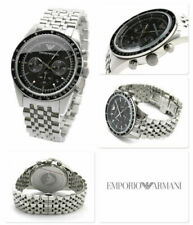 NEW GENUINE EMPORIO ARMANI AR5988 SILVER STAINLESS STEEL BLACK DIAL MENS WATCH