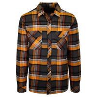 Rip Curl Men's Autumn Orange Grey Plaid L/S Flannel Shirt (S22)