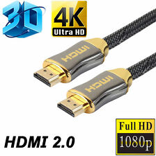 Braided Ultra HD HDMI Cable V2.0 High Speed Ethernet HDTV 2160P 4K 3D CHROME 6FT