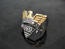 Golden American Eagle Biker Ring for 81 Hell Angel Harley Motorcycle Biker TR143