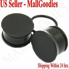 "5/8"" Inch 16mm MallGoodies One 1 Pair 0939 Black Acrylic Single Flare Ear Plugs"