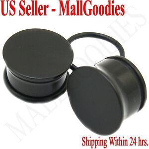 "0939 Black Acrylic Single Flare Ear Plugs 5/8"" Inch 16mm MallGoodies One 1 Pair"