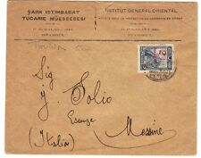 TURKEY-ITALY 1929 GALATA TO MESSINE FRANKED 5 KURUSH REVALUED 2 KURUSH MESSINA