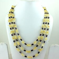 BEAUTIFUL NECKLACE NATURAL YELLOW CITRINE & RED GARNET GEMSTONE BEADED 91 GRAMS