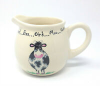 2 X HOME FARM COW CREAM BLACK STONEWARE MILK CREAM JUGS 9CM X 12CM