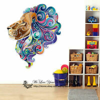 Colour Lion Head Wall Art Stickers Xmas Decor Removable Vinyl Decal Gift Mural