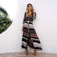 Ladies Summer Dress Vintage Boho Long Maxi Split Party Club Beach Floral Dresses Brown L