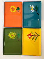4 Colorful 1965 DAVAR Lacquer Ware Canape Trays Vintage Flowers Japan MCM