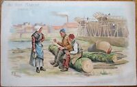Auguste Besnou/Artist-Signed 'Au Bon Marche,' Paris 1910 Nautical Ad Print - 3