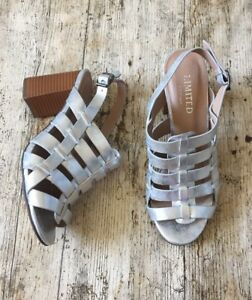 M&S Insolia LIMITED EDITION Metallic Silver Block Heel Strappy Sandals UK 5.5