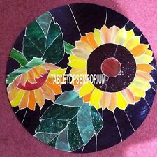 30'' Black Dining Marble Table Top Mosaic Decorative Outdoor Marquetry Inlay Art