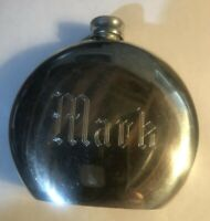 """1900's  PEWTER FLASK COLONIAL BOARDMAN 7 oz WHISKEY SCOTCH """"MARK"""" ENGRAVED OLD !"""
