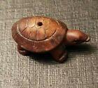 "Vintage NETSUKE Hand Carved Wood TURTLE NETSUKE Bead 1 1/8""Tx 1/2""W Dark Wood"