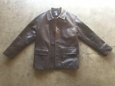 Polo Ralph Lauren Wool Lined Leather Car Jacket Small Brown
