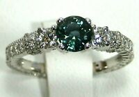 Green Sapphire Ring 18K white gold Filigree Rare VS GIA Natural Heirloom $5,96