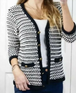 Small Womans CAbi Black White Waffle Knit Cardigan Sweater #868