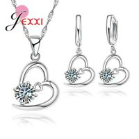 925 Sterling Silver Crystal  Pendant Necklace and Earring Set And Velvet Pouch