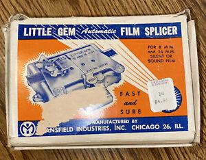 MANSFIELD LITTLE GEM FILM SPLICER Automatic Splicer for 8mm & 16mm Original Box