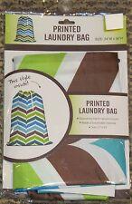 Chevron Print Drawstring Laundry Bag NEW