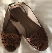 Clarks Artisan Brown Leather Peeptoe Slides Sandals Shoes Size 7.5