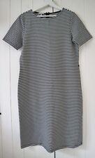 Hobbs Black & Ivory Stripe Short Sleeve Jersey Shift Dress UK 14