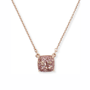 Kate Spade Rose Gold Square Pendant Pink Glitter Necklace