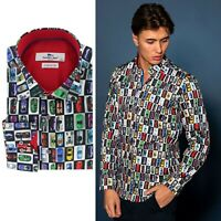 BRAND NEW CLAUDIO LUGLI SUPER CAR PRINTED SATIN COTTON MEN'S SHIRT