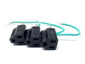 Electrical Outlet Plug Adapter 3 Prong to 2 Prong Black w/Ground Wire Pack of 3