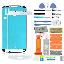 Samsung Galaxy S4 Front Glass lens Screen Replacement Repair Kit WHITE + UV Glue