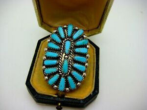 VINTAGE BIG STERLING  SILVER TURQUOISE ZUNI PETIT POINT CLUSTER RING. SZ 8.5