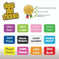 100 Personalised Kids Childrens Name Stick On Stickers Labels School Waterproof