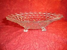 BEAUTIFUL CRYSTAL 3 FOOTED  BOWL WITH 3D DIAMOND PATTERN