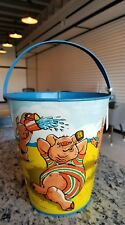 VINTAGE TIN LITHO SAND PAIL 1920s T COHN  BEACH CRABS HOW TO BE A PRACTICAL PIG
