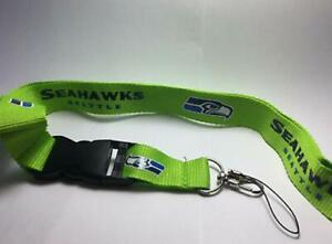 Seattle Seahawks Lanyard ID Badge Key Chain Clip Face Mask Holder Strap Saver