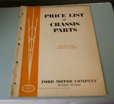 April 1936 Ford Motor Company Price List of Chassis Parts Car Automobile Catalog