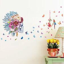 FLORAL SKULL Wall Sticker MURAL Skeleton Room Decor Teen Dorm Bird Flower Decals