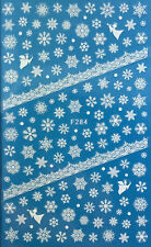 Nail Art 3D Decal Stickers White Snowflakes & Angel Christmas Winter F284