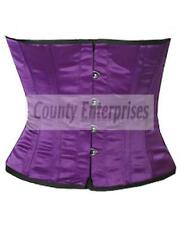 Full Steel Bone Spiral Shaper Cincher Taillen Waist Slimming Purple Satin Corset