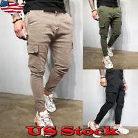 Men's Fashion Slim Pocket Straight Leg Trousers Casual Pencil Jogger Cargo Pants