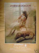 PUBLICITÉ 1981 ANIMA PRESTIGE DE LA PELUCHE UN RÊVE DE DOUCEUR